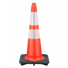 "28"" Slim Orange Traffic Cone Black Base, 7 lbs w/ 6"" & 4"" 3M Reflective Collar"