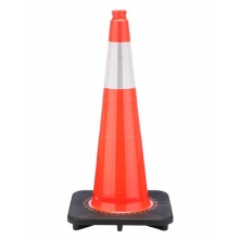 "28"" Slim Orange Traffic Cone Black Base, 7 lbs w/6"" Reflective Collar"