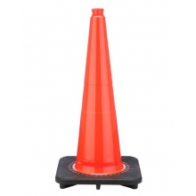 "28"" Slim Orange Traffic Cone Black Base, 7 lbs"