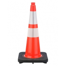 "28"" Slim Line Orange Traffic Cone Black Base, 10 lbs w/ 6"" & 4"" 3M Reflective Collar"