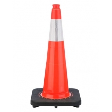 "28"" Slim Line Orange Traffic Cone Black Base, 10 lbs w/6"" Reflective Collar"