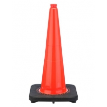 "28"" Slim Line Orange Traffic Cone Black Base, 10 lbs"
