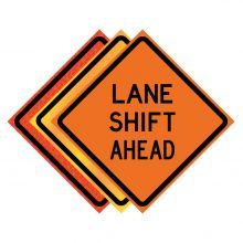 """Buy 36"""" x 36"""" Roll Up Traffic Sign - Lane Shift Ahead on sale online"""