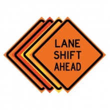 "36"" x 36"" Roll Up Traffic Sign - Lane Shift Ahead"