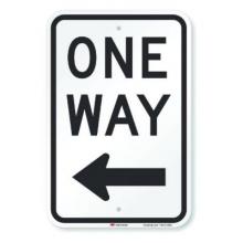 Official MUTCD One Way Traffic Sign (LEFT ARROW)