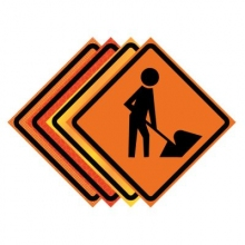 "36"" x 36"" Roll Up Traffic Sign - Men Working Symbol"