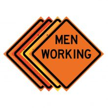 "Buy 36"" x 36"" Roll Up Traffic Sign - Men Working on sale online"