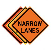 """Buy 36"""" x 36"""" Roll Up Traffic Sign - Narrow Lanes on sale online"""