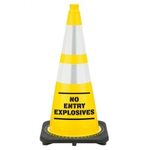 "28"" Yellow No Entry Explosives Traffic Cone Black Base, 7 lbs w/ 6"" & 4"" Reflective Collar"