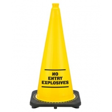 "28"" Yellow No Entry Explosives Traffic Cone Black Base, 7 lbs"