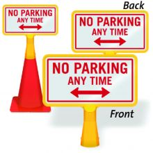 ConeBoss Sign: No Parking Any Time (With Bi-directional Arrow)
