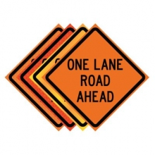 "36"" x 36"" Roll Up Traffic Sign - One Lane Road Ahead"
