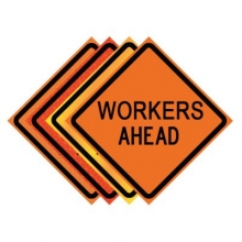 "36"" x 36"" Roll Up Traffic Sign - Workers Ahead"