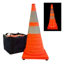 "36"" Reflective Collapsible Pop Up Traffic Cone w/LED Light  (Pack of 5)"