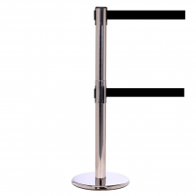 QueuePro Twin 250 Polished Stainless Metal Retractable Belt Post