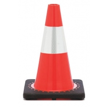 "12"" Orange Traffic Cone Black Base w/ 4"" Reflective Collar"