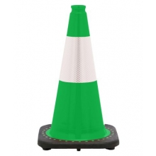 "18"" Kelly Green Traffic Cone Black Base, 3 lbs w/6"" Reflective Collar"