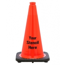 "FREE STENCIL 18"" Orange Traffic Cone Black Base, 3 lbs"