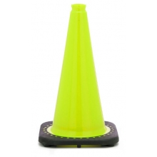 "18"" Lime Green Traffic Cone Black Base, 3 lbs"