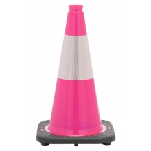 "18"" Pink Traffic Cone Black Base, 3 lbs w/6"" Reflective Collar"