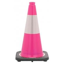 "18"" Pink Traffic Cone Black Base, 3 lbs w/6"" Reflective Collar"