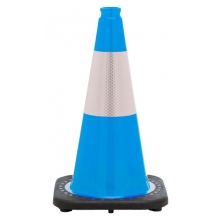 "18"" Sky Blue Traffic Cone Black Base, 3 lbs w/6"" Reflective Collar"