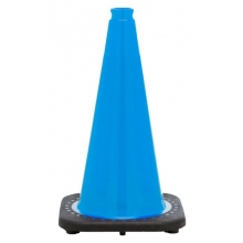 "18"" Sky Blue Traffic Cone Black Base, 3 lbs"