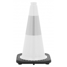 "18"" White Traffic Cone Black Base, 3 lbs w/6"" Reflective Collar"