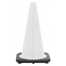 "18"" White Traffic Cone Black Base, 3 lbs"