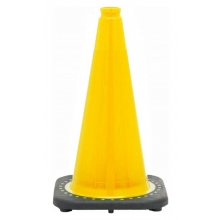 "18"" Yellow Traffic Cone Black Base, 3 lbs"