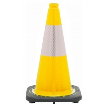 "18"" Yellow Traffic Cone Black Base, 3 lbs w/6"" Reflective Collar"