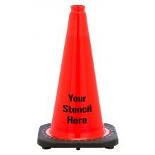 "Buy FREE STENCIL 18"" Orange Traffic Cone Black Base, 3lbs on sale online"