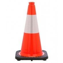 "18"" Orange Traffic Cone Black Base, 3 lbs w/6"" 3M Reflective Collar"
