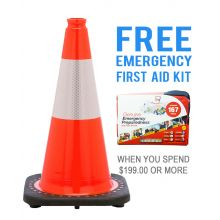 "Buy 18"" Orange Traffic Cone w/6"" 3M Reflective Collar & FREE First Aid Kit on sale online"