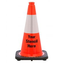 "Buy FREE STENCIL 18"" Orange Traffic Cone Black Base, 3lbs w/6"" 3M Reflective Collar on sale online"