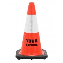 "FREE STENCIL 18"" Orange Traffic Cone Black Base, 3 lbs w/6"" 3M Reflective Collar"