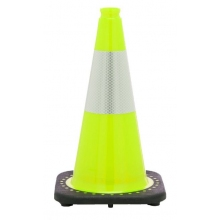 "18"" Lime Green Traffic Cone Black Base, 3 lbs w/6"" Reflective Collar"