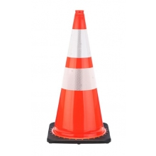 "28"" Orange Traffic Cone Black Base, 5.5 lbs w/ 6"" & 4"" 3M Reflective Collar"