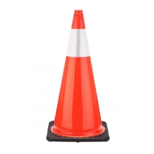"28"" Orange Traffic Cone Black Base, 5.5 lbs w/6"" Reflective Collar"