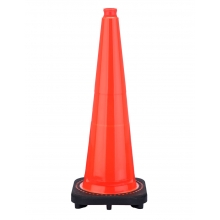"28"" Slim Orange Traffic Cone Black Base, 5.5 lbs"