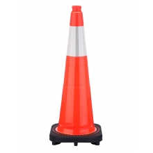 "28"" Slim Orange Traffic Cone Black Base, 5.5 lbs w/6"" Reflective Collar"