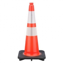 "28"" Slim Orange Traffic Cone Black Base, 5.5 lbs w/ 6"" & 4"" 3M Reflective Collar"