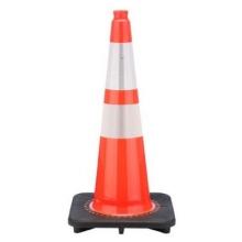 "28"" Slim Orange Traffic Cone Black Base, 5.5 lbs w/ 6"" & 4"" 3M Reflective Collar"