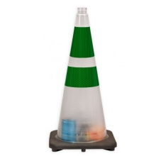 "28"" High Risk Clear Traffic Cone, 7 lbs w/ 6"" & 4"" 3M Green Reflective Collar"