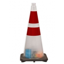"28"" High Risk Clear Traffic Cone, 7 lbs w/ 6"" & 4"" 3M  Red Reflective Collar"