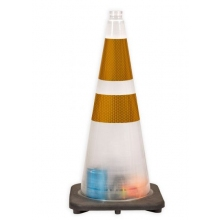 "28"" High Risk Clear Traffic Cone, 7 lbs w/ 6"" & 4"" 3M Yellow Reflective Collar"