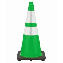 "28"" Kelly Green Traffic Cone Black Base, 7 lbs w/ 6"" & 4"" Reflective Collar"