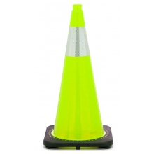 "28"" Lime Green Traffic Cone Black Base, 7 lbs w/6"" Reflective Collar"