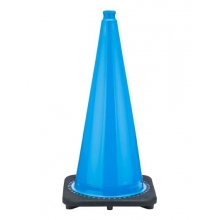 "28"" Sky Blue Black Based Traffic Cone, 7 lbs"