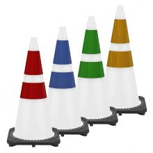 "28"" White Traffic Cone Black Base, 7 lbs w/3M Reflective Collar"